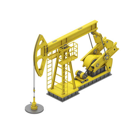 Yellow oil pump isolated on white background. Isometric oil pumpjack. Industrial infographic. 3d render. 3d illustration.