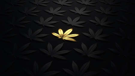 Luxury golden background with cannabis leaves. Minimal trendy design wallpaper marijuana. Black and gold leaves cannabis.3d render. 3d illustration.