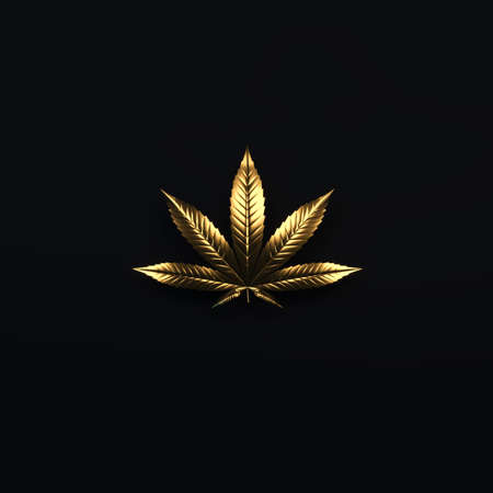 Luxury golden cannabis leaf. Golden glitter leaf of marijuana isolated on black background. Cannabis emblem for the logo design. 3d render. 3d illustration. 版權商用圖片