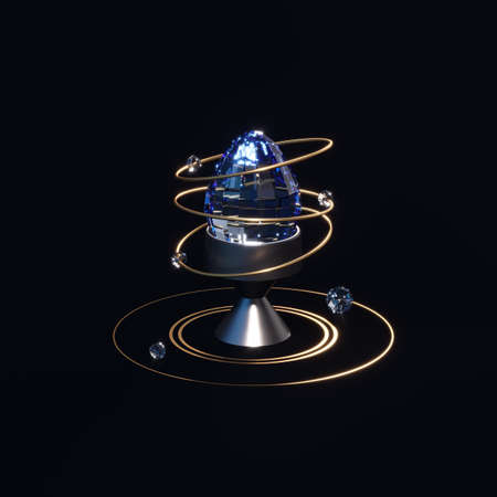 Abstract composition with a diamond egg and golden shapes. Luxury Easter concept. Minimal design with jewelry. 3d render. 3d illustration.