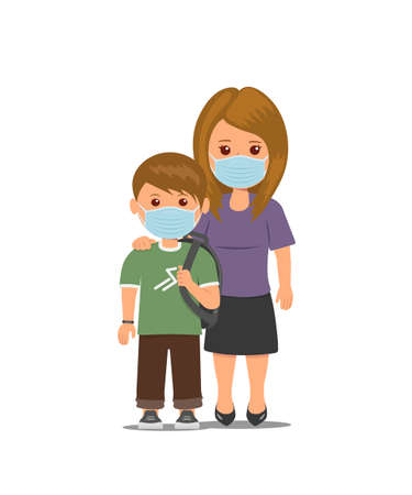 Mother and child in medical masks. Concept Stop the spread of viruses. Coronavirus quarantine. Isolated mom and schoolboy in protective masks. Vector illustration in flat style.
