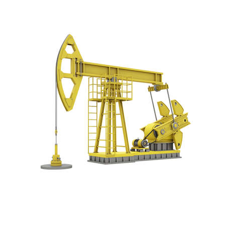 Yellow oil rocking machine isolated on white background. Pump jack extraction of oil. Industrial 3d illustration. 3d render.