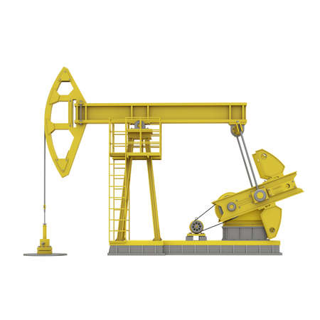 Yellow oil rocking machine in side view isolated on white background. Pump jack extraction of oil. Industrial 3d illustration. 3d render.