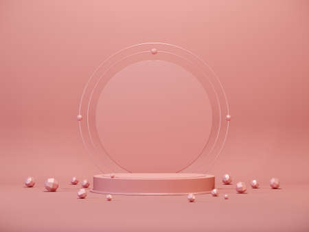 3d rendering of rose gold pedestal with geometric shapes. Luxury minimal background for branding and packaging presentation. Abstract mock up scene in pastel rose gold colors. 3d illustration.