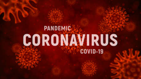 Bright red background with cells coronavirus. Pandemic covid-19. Danger of spread coronavirus. 3d medical illustration. 3d render.