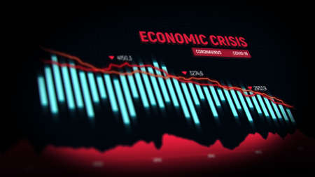 The coronavirus impacts the global economy. Economic crisis concept. Financial stock market crisis. Global economy crash. Financial illustration. 3d render. 免版税图像