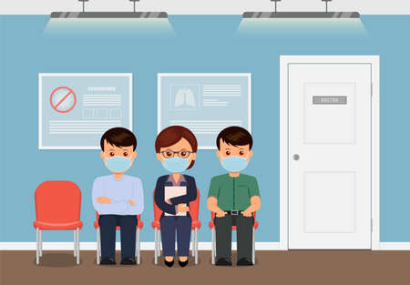 Clinic waiting room. Patients in face masks waiting for reception to the doctor. Test coronavirus. Pandemic and quarantine . Treatment for virus in clinic. Vector illustration in flat style.