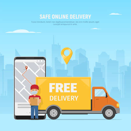 Safe delivery service concept. Courier in protective mask with box, truck and phone with app on screen on city background. Vector illustration in flat style. 免版税图像