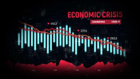 The coronavirus impacts the global economy. Economic crisis concept. Financial stock market crisis. Global economy crash. Financial illustration. 3d render. 3d illustration. 版權商用圖片