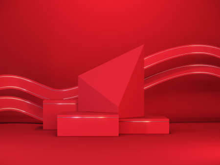 Minimal red stage podium with geometric shapes. Luxury minimal background for branding and packaging presentation. Mockup podium design concept. 3d render. 3d illustration.