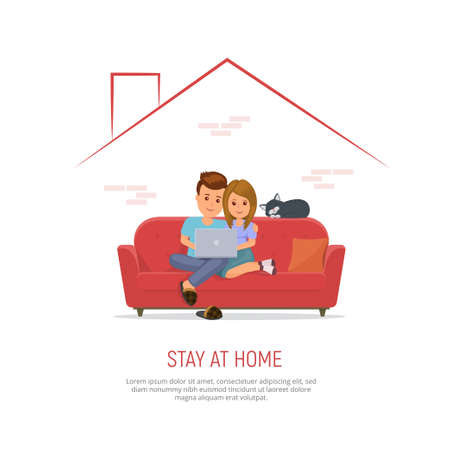 Couple with laptop on sofa internet communication, working or studying from home due to coronavirus quarantine. Family stay home during the coronavirus epidemic. Vector illustration in flat style.