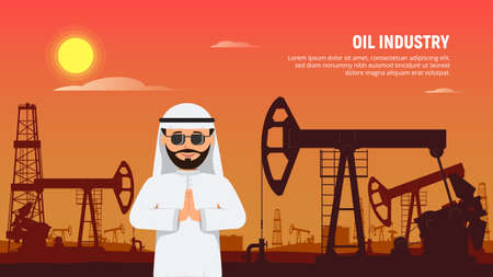 Arabic businessman behind oil rigs and oil pumps. Petroleum market crisis. Coronavirus impact on falling oil prices. Vector Illustration in flat style.