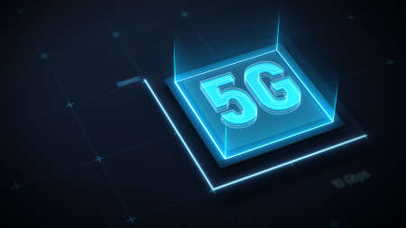 5G network internet mobile wireless business futuristic concept. Neon 5G sign on technology background. Fifth generation technology of modern signal transmission. 3d render. 3d illustration. 免版税图像
