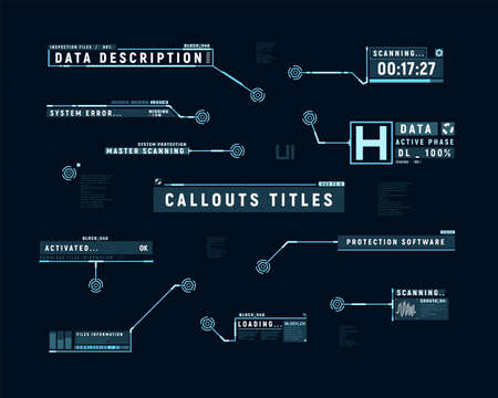 Futuristic callouts. Hud set of callout bar labels. Information callouts of lower third. Digital info boxes layout templates. Elements of hud interface. Vector illustration.