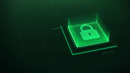 Lock sign neon on technology background. Security futuristic concept. Protection data. Information privacy idea in green color. 3d render. 3d illustration.