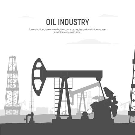 Oil drilling rig banner. Oilfield background. Industrial landscape with oil rig and tanks and pump jack. Black and white illustration for infographics, poster, brochure, flyer. Vector Illustration. 矢量图像