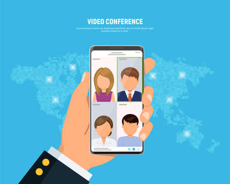Businessman holds phone with video conferencing on screen. Online meeting concept. People on phone screen talking with colleague. Conference video call. Vector illustration in flat style.