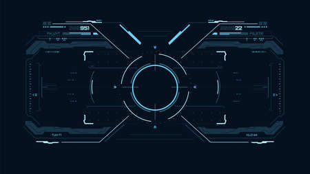 Futuristic blue user interface. Sci fi HUD. UI for game, vr. Concept dashboard display. Target element with touch screen. Vector illustration. 矢量图像