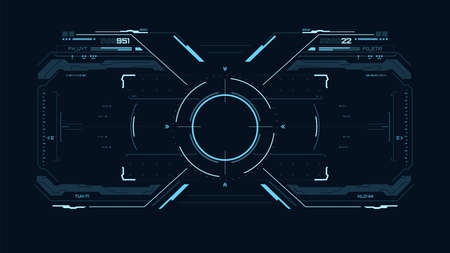 Futuristic blue user interface. Sci fi HUD. UI for game, vr. Concept dashboard display. Target element with touch screen 矢量图像