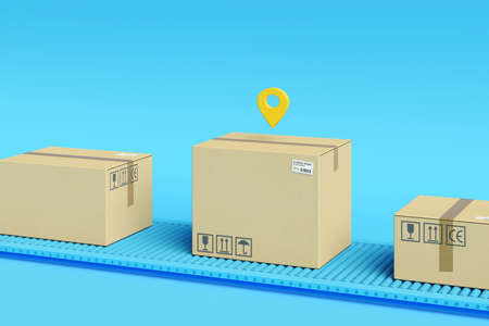 Cardboard boxes on conveyor belt. Logistics, delivery and online order tracking concept. Minimal composition.