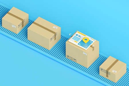 Cardboard boxes on conveyor belt in isometric view. Logistics, delivery and online order tracking concept.