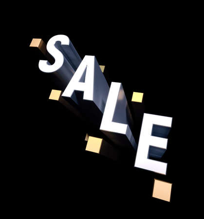 3d typography word Sale. Gold geometric shapes and SALE letter on black background. 3d rendering illustration 免版税图像