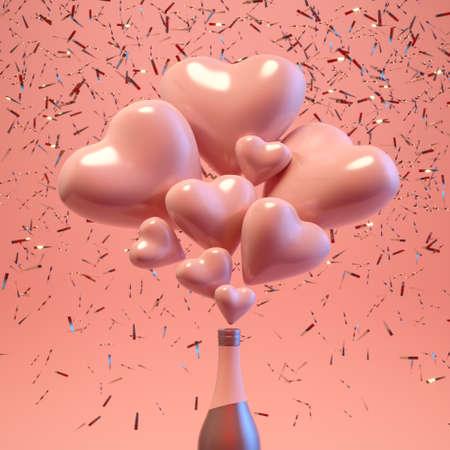 Open bottle with flying out hearts and confetti. Romantic background with bottle and splash hearts on pink pastel background. Like concept trendy minimal 3d illustration. Valentine Day. 3d render.