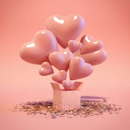 Open gift box with flying out hearts and confetti on floor. Surprise in a gift box. Like the concept illustration in trendy pastel colors. Valentine Day. 3d render. 3d illustration.