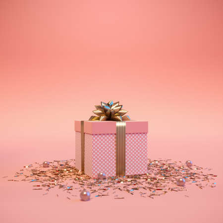 Gift box with golden ribbon bow and confetti on pastel pink background. Romantic present for minimal pastel color for for women and holidays. Christmas gift. Creative 3d illustration. 3d render. 免版税图像