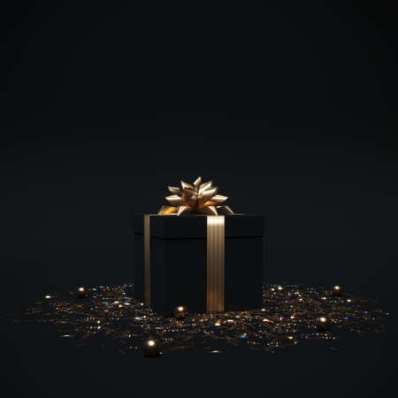 Black gift box with gold bow and ribbons on dark background with confetti. Luxury christmas present. Template banner for birthday, gift post cards, social media. 3d render. 3d illustration. 免版税图像