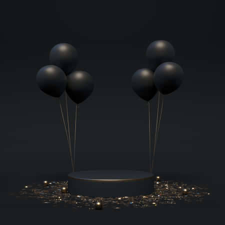 Scene mock up podium with balloons in black and gold colors. Luxury template product display for branding and packaging presentation. Elegant cosmetic and fashion concept. 3d render. 3d illustration.