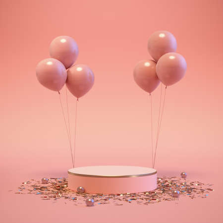 Scene mock up podium with balloons in soft pink minimal colors. Romantic template product display for branding and packaging presentation. Cosmetic and fashion concept. 3d render. 3d illustration. 免版税图像