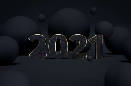 2021 black and gold abstract background with 3d spheres. Christmas luxury minimal concept. Decoration design for New Year. 3d rendering. 3d illustration.