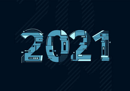 Modern futuristic template for 2021. 2021 tech composition. Business technology concept. Vector illustration.
