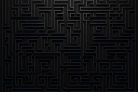 Dark maze top view. Elegant geometric pattern background. Business concept of find right way. 3d render. 3d illustration. Фото со стока