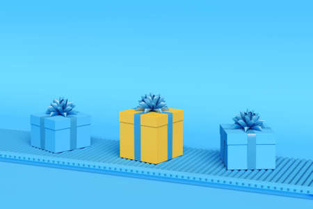 Gift boxes on conveyor belt in blue pastel colors. Holiday delivery concept. Minimal composition. 3d illustration. 3d render. Фото со стока