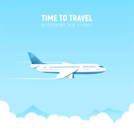 Opening of flights to holiday destinations concept. Airplane flying in the sky, banner. Vector illustration in flat style.