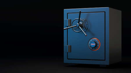 Error access of safe box opening. Vault with red opening indicator. Business and finance concept. Safe security of deposit. 3d illustration. 3d render.