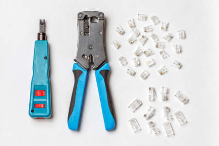 crimper: Network jumper knife, connectors, crimper