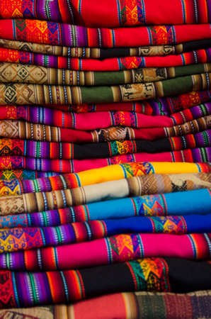 South American hand made colorful fabric, Peru. Traditional patterns & design