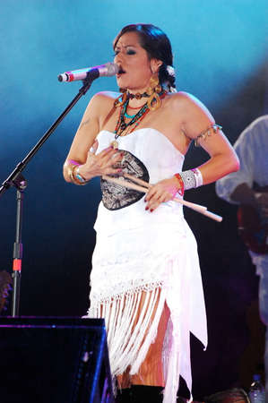 PAPANTLA, VERACRUZ, MEXICO- MARCH 27, 2010: Mexican singer Lila Downs performs on stage at Festival Cumbre Tajín