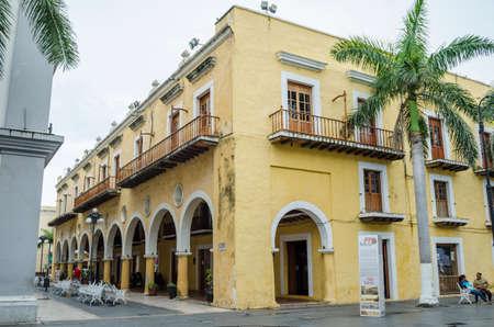 VERACRUZ, MEXICO- SEPTEMBER 27, 2017: Antique yellow building at historic center of Veracruz, Mexico Stock Photo - 87143815