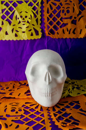 Styrofoam skull. Part of a mexican day of the dead offering altar Stock Photo