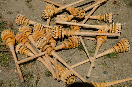 Mexican handicraft made of wood for churn the chocolate in Oaxaca, Mexico Stok Fotoğraf