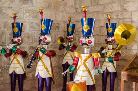 OAXACA, OAXACA, MEXICO- JUNE 1, 2018: Giant tin plate musicians, traditional toys as decoration at Ferrocarril Museum in Oaxaca, Mexico