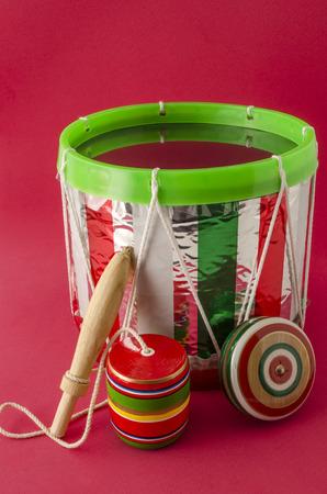 Drum, balero and yo-yo. Mexican toys. Traditional mexican toys.