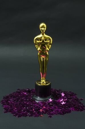 XALAPA, VERACRUZ, MEXICO- FEBRUARY 14, 2019: Plastic Oscar award with pink stars confetti against black background