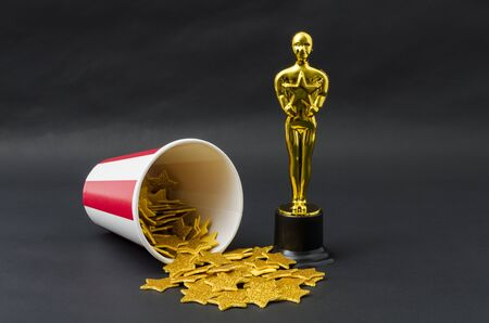 XALAPA, VERACRUZ, MEXICO- FEBRUARY 14, 2019:  Red and white cup with golden stars and plastic oscar award against black background Editorial