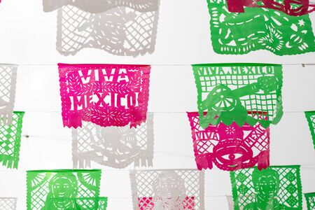 Green, white and red cut paper decorated for Mexican Independence Day Stok Fotoğraf
