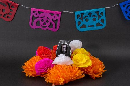 Colorful flowers, cut paper and a coffin with a skeleton on black background. Decoration for Day of the Dead Stok Fotoğraf